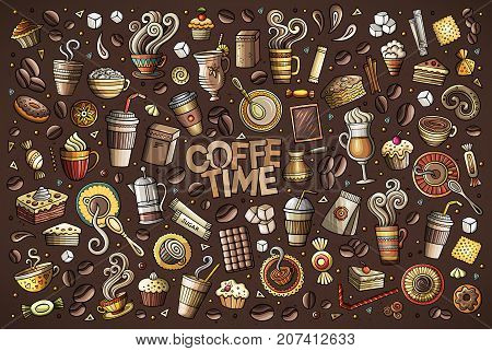 Colorful vector hand drawn Doodle cartoon set of objects and symbols on the coffee time theme