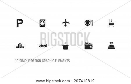 Set Of 10 Editable Travel Icons. Includes Symbols Such As Shower, Service Bell, Citizenship And More