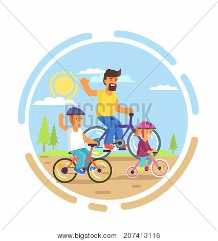 Family bike ride with dad, little daughter and teenager son riding on bicycles in park vector illustration. Fatherhood concept, celebrating holiday together