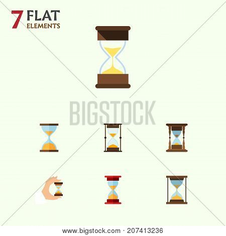 Flat Icon Hourglass Set Of Instrument, Sandglass, Minute Measuring Vector Objects