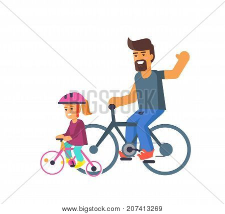Family bike ride with dad and little daughter on bicycles vector illustration isolated on white. Fatherhood concept, celebrating holiday together
