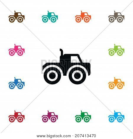 Farm Vehicle Vector Element Can Be Used For Farm, Vehicle, Tractor Design Concept.  Isolated Tractor Icon.
