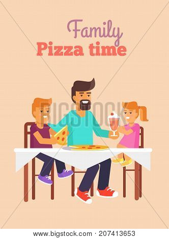 Family pizza time vector illustration of father, daughter and son having lunch together vector illustration. Dad and children sit at the table and eat