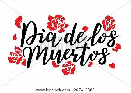 Day of the dead vector illustration. Hand sketched lettering 'Dia de los Muertos' (Day of the Dead) for postcard or celebration design.