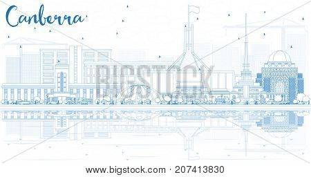 Outline Canberra Skyline with Blue Buildings and Reflections. Business Travel and Tourism Concept with Modern Architecture. Image for Presentation Banner Placard and Web Site.