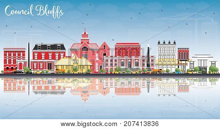 Council Bluffs Iowa Skyline with Color Buildings, Blue Sky and Reflections. Business Travel and Tourism Illustration with Historic Architecture.