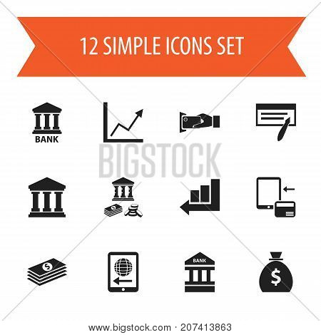 Set Of 12 Editable Finance Icons. Includes Symbols Such As Tax, Edifice, Holdall And More