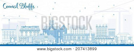 Outline Council Bluffs Iowa Skyline with Blue Buildings. Business Travel and Tourism Illustration with Historic Architecture.