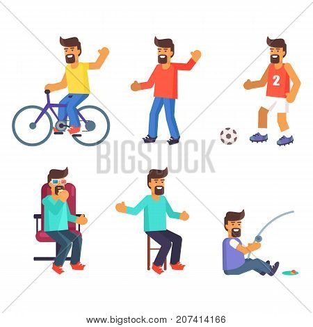 Cheerful man lives active life. Male rides a bike, entertain in cinema, plays football, catches fish and tells stories set of vector illustrations on white background