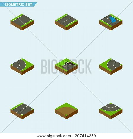 Isometric Road Set Of Plash, Down, Underground And Other Vector Objects