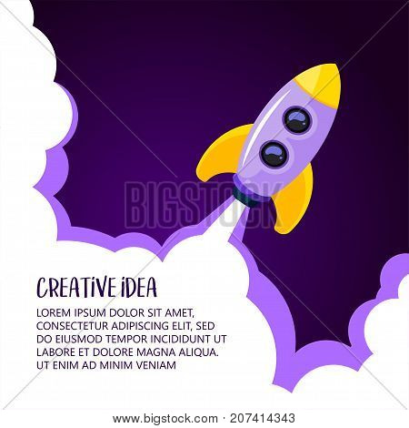 Space rocket launch. Creative idea banner with rocket background, vector illustration