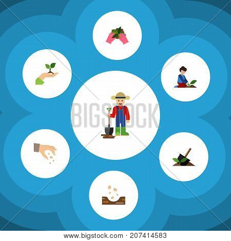 Flat Icon Plant Set Of Plant, Sow, Man And Other Vector Objects