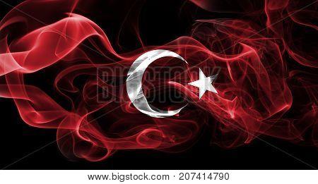 National smoke flag of Turkey isolated on black background