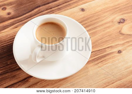 coffee cup, espresso on a wooden background. Invigorating coffee in the morning. Copy space
