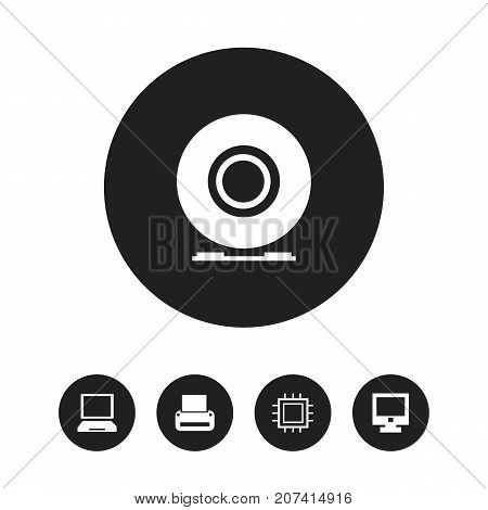Set Of 5 Editable Computer Icons. Includes Symbols Such As Compact Disk, Screen, Printing Machine And More