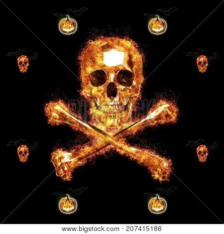 Burning Skull and Crossbones, Jack o' lantern, Bats Flying, 3D, Isolated Against a Black Background.