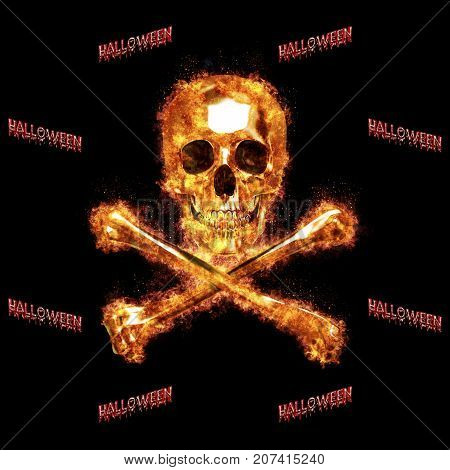 Burning Skull and Crossbones, Halloween, 3D, Isolated Against a Black Background.