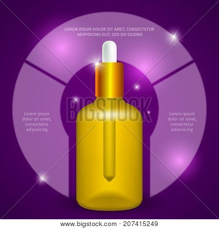 Coenzyme q10 in a bottle with a pipette. Vector image of vitamins. Organic cosmetics.  Extract of collagen.