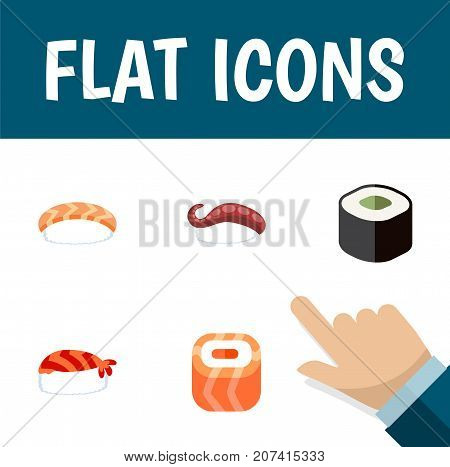 Flat Icon Maki Set Of Salmon Rolls, Sashimi, Gourmet And Other Vector Objects
