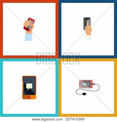 Flat Icon Smartphone Set Of Cellphone, Accumulator, Chatting And Other Vector Objects
