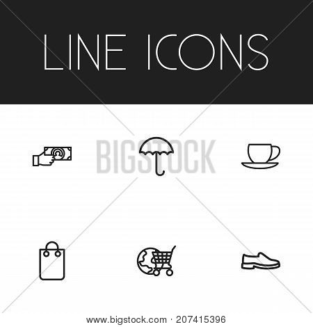 Set Of 6 Editable Business Outline Icons. Includes Symbols Such As Giving Money, Globe Cart, Handbag