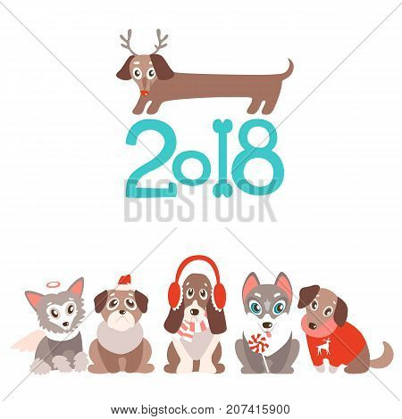 vector background with cute cartoon puppies in warm winter clothes. Different breeds - dachshund, husky, retriever, pug, Chinese crested and basset. Natural colors.