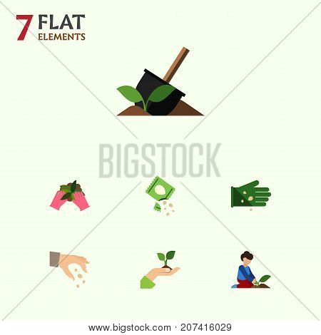 Flat Icon Seed Set Of Soil, Care, Sow And Other Vector Objects
