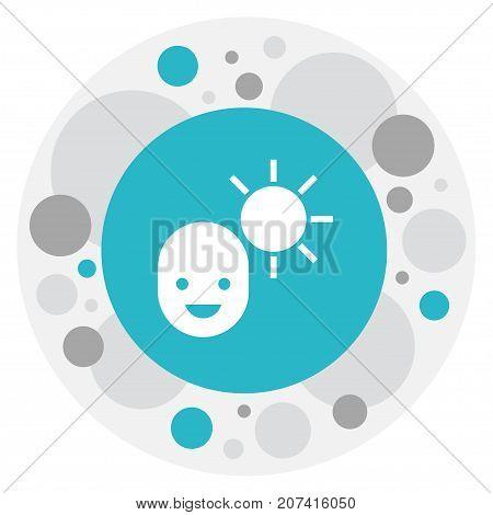 Vector Illustration Of Weather Symbol On Man Under Solar Icon