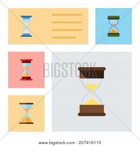 Flat Icon Hourglass Set Of Clock, Loading, Hourglass And Other Vector Objects