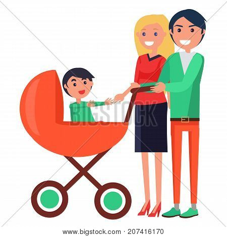 Parents Day Poster vector illustration of happy mother and joyful father on a walk with their young child sitting in stroller