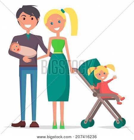 Parents Day poster vector illustration of happy family with father holding newborn son, mother and their young daughter in stroller