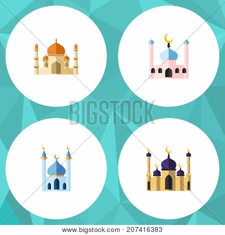 Flat Icon Mosque Set Of Religion, Mosque, Muslim And Other Vector Objects