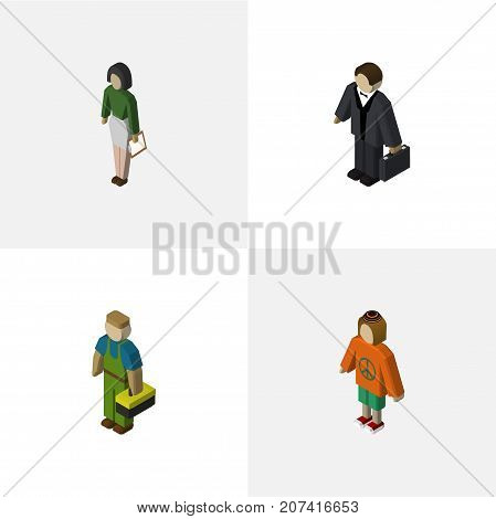 Isometric Person Set Of Plumber, Investor, Lady And Other Vector Objects