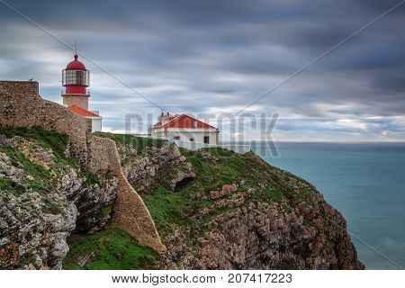 Lighthouse before the storm Cabo Sao Vicente. Portugal algarve