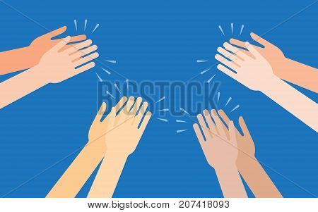 Human hands clapping ovation applaud hands vector illustration in flat style.