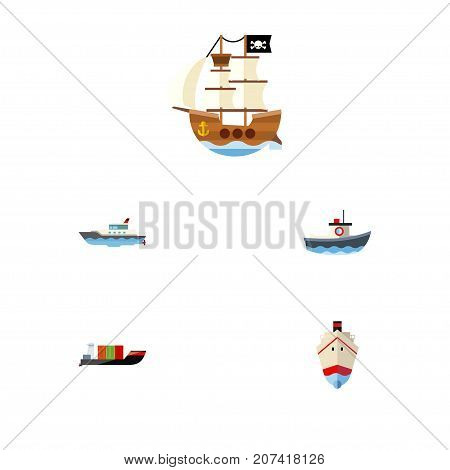 Flat Icon Vessel Set Of Transport, Vessel, Tanker And Other Vector Objects