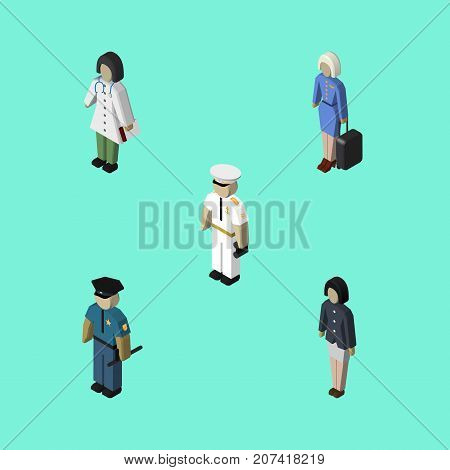 Isometric Person Set Of Doctor, Hostess, Officer And Other Vector Objects
