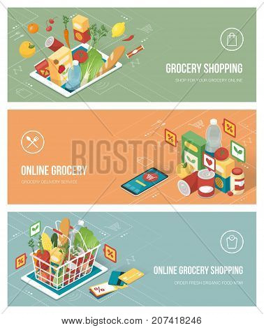 Grocery shopping online using apps on a smartphone and tablet; healthy eating retail and technology concept