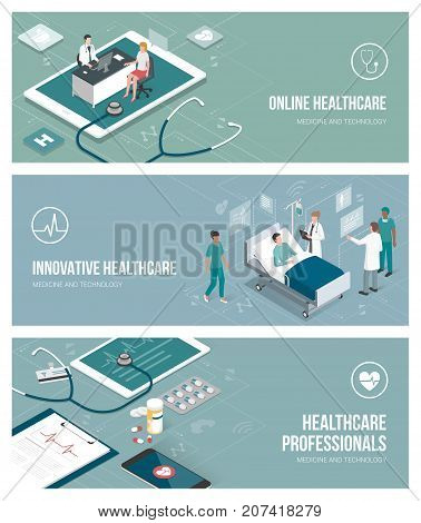 Healthcare doctors and patients banenr set with isometric people and objects