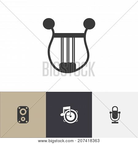 Set Of 4 Editable Song Icons. Includes Symbols Such As Loudspeaker, Musical Instrument, Phonogram And More