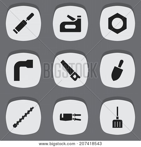 Set Of 9 Editable Instrument Icons. Includes Symbols Such As Carpenter, Digging, Shovel And More
