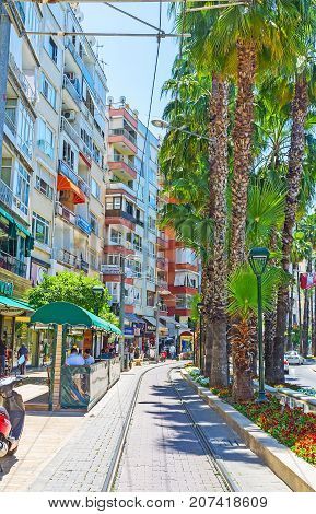 The Tram Line In Ataturk Boulevard, Antalya