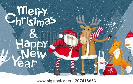 Vector Christmas greeting card. Santa Claus and cute forest animals: elk deer fox and hares wish you a Merry Christmas. For posters banners sales and other winter events.