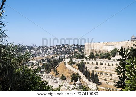 View of Jerusalem from the Mount of Olives. On the right on the temple mountain is often the eastern wall of the old city (Israel, Jerusalem)