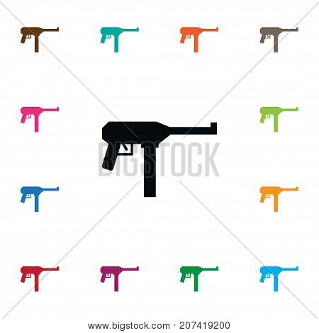 Gun Vector Element Can Be Used For Gun, Automatic, Weapon Design Concept.  Isolated Kalashnikov Icon.