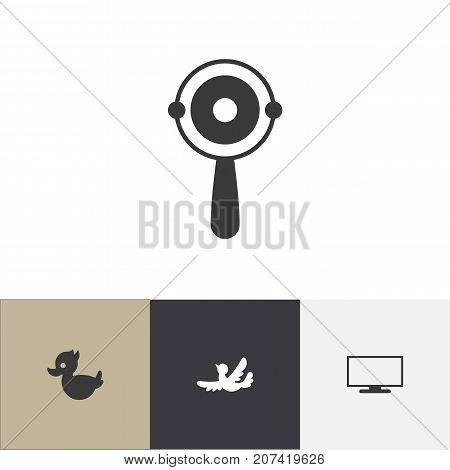 Set Of 4 Editable Relatives Icons. Includes Symbols Such As Sparrow, Monitor, Rattle And More