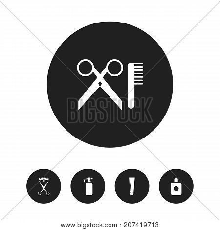 Set Of 5 Editable Hairdresser Icons. Includes Symbols Such As Aroma, Stylist, Tube And More