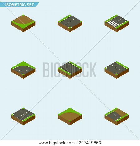 Isometric Road Set Of Downward, Sand, Footpassenger Vector Objects