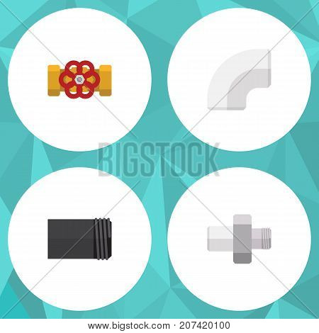 Flat Icon Industry Set Of Connector, Tube, Pump Valve And Other Vector Objects