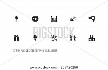 Set Of 10 Editable Folks Icons. Includes Symbols Such As Velocipede, Ancestor, Blocks And More
